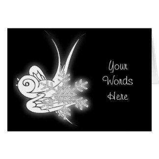 PERSONALIZE - Snowflake & Birdie - Black & White Card