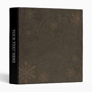 PERSONALIZE Snowflakes 4 - Original Dark Sepia 3 Ring Binder