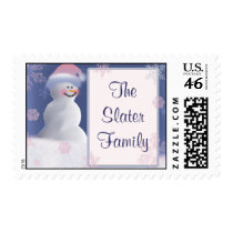 Personalize Snowman Christmas stamps