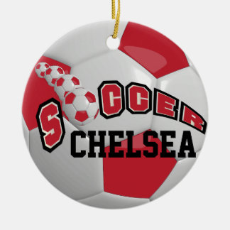 Personalize Soccer Ball | Dark Red Ceramic Ornament