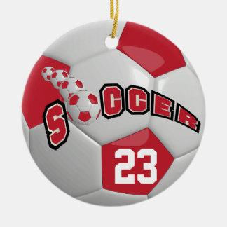 Personalize Soccer Ball | Dark Red Ceramic Ornament