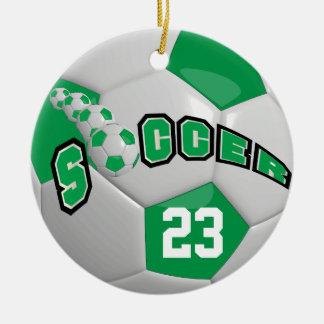 Personalize Soccer Ball | Green Ceramic Ornament
