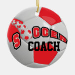 Personalize Soccer Ball | Red Christmas Ornament