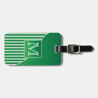 Personalize Sophisticated Green and White Stripes Tag For Luggage
