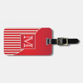 Personalize Sophisticated Red and White Stripes Bag Tags