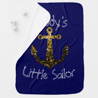 Personalize Sparkly Anchor Daddy's Little Sailor Swaddle Blanket