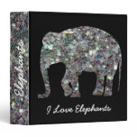 Personalize Sparkly silver mosaic Elephant Black Binder