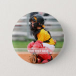 "Personalize Sports Photo Pinback Button<br><div class=""desc"">Easily place your kid&#39;s photo in the template to make a cute button gift for the child.Add a text such as a name,  to customize and personalize the pin.Available in a variety of shapes and sizes. Choose your own shape or size from the options menu on the right.</div>"
