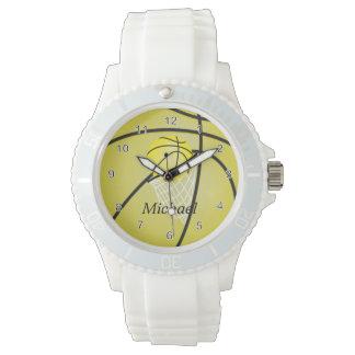Personalize Sports Yellow Basketball Wrist Watch