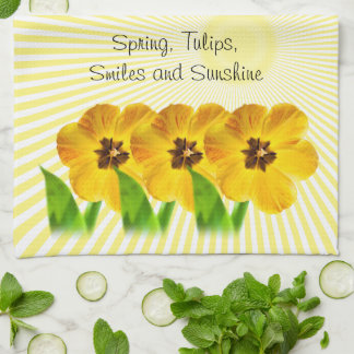 """Personalize:  """"Spring, Tulips and Sunshine"""" Pics Hand Towel"""