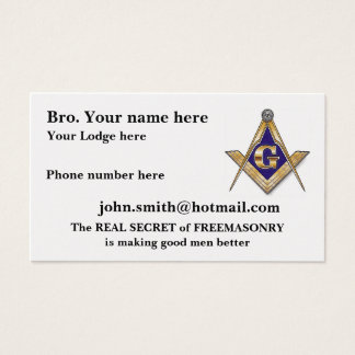 Personalize Square and Compasses Business Card