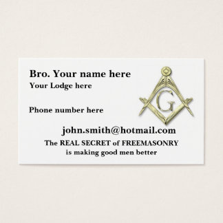Personalize Square and Compasses MASONIC Business Card