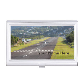 (Personalize) St. Lucia Plane and Airstrip photo Business Card Holders