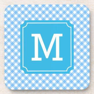 Personalize Stylish Baby Blue Gingham Monogram Drink Coaster