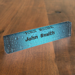 Personalize Stylish Cool Blue water drops Desk Name Plate