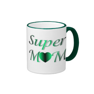 PERSONALIZE SUPER MOM MOTHER'S DAY RINGER COFFEE MUG
