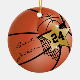 Personalize Super Star Player Basketball Ceramic Ornament