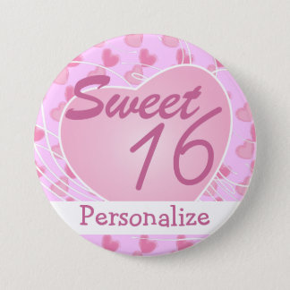 Personalize Sweet Sixteen Pink Hearts Birthday Pinback Button