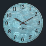 "Personalize: Swimming Pool Water - Summer Abstract Large Clock<br><div class=""desc"">Personalize this summer abstract water image with your name,  initial,  or monogram using the easy template provided.  This is abstract photography of swimming pool water.  Cool refreshing teal /turquoise abstract art created by manipulating an image of the moving water in a swimming pool.</div>"