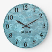 Personalize: Swimming Pool Water - Summer Abstract Large Clock