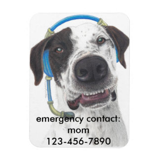 personalize talking dog with emergency contact # rectangular magnet