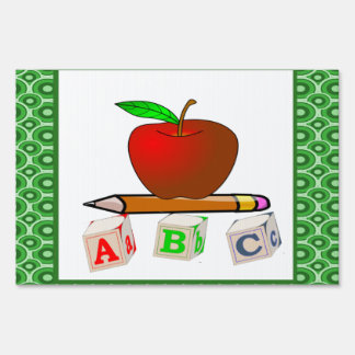 Personalize Teachers' ABC, Apple and Pencils Lawn Sign