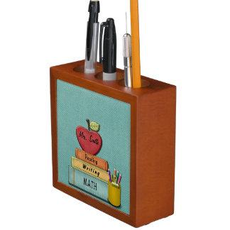 Personalize Teachers', Apple, Books and Pencils Desk Organizer