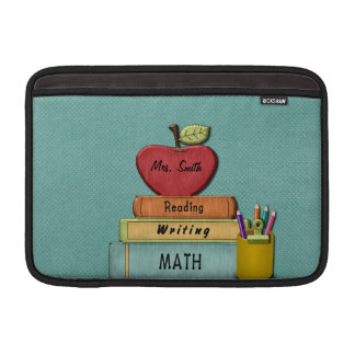 Personalize Teachers', Apple, Books and Pencils MacBook Sleeve