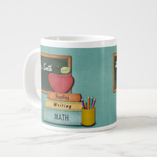 Personalize Teachers', Apple, Books and Pencils Large Coffee Mug