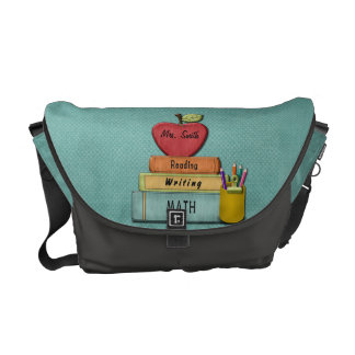 Personalize Teachers Apple Books and Pencils Messenger Bags