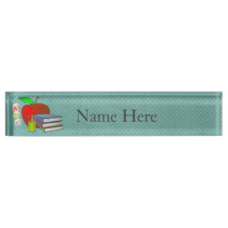 Personalize Teachers', Apple, Books and Pencils Name Plate
