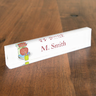Personalize Teachers', Apple, Books and  Pencils Nameplate