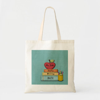 Personalize Teachers', Apple, Books and Pencils Tote Bag