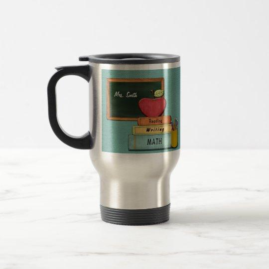 Personalize Teachers', Apple, Books and Pencils Travel Mug