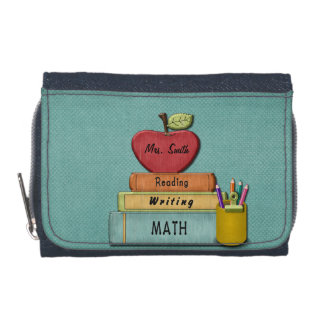 Personalize Teachers', Apple, Books and Pencils Wallets