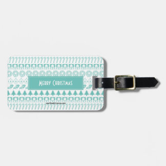 Personalize: Teal and White Christmas Pattern Luggage Tag