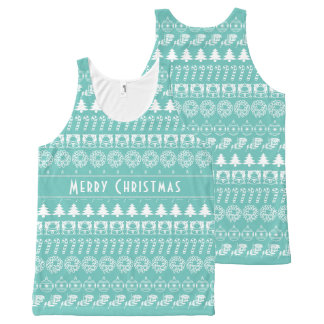 Personalize: Teal and White Christmas Stripes All-Over-Print Tank Top