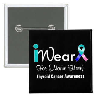 Personalize Teal Blue Pink Ribbon Thyroid Cancer 2 Inch Square Button