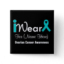 Personalize Teal Ribbon Ovarian Cancer Button