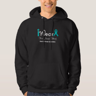 Personalize Teal Ribbon Ovarian Cancer Hoodie