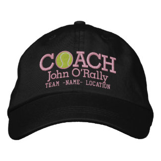 Personalize Tennis Coach Cap Your Name Your Game Embroidered Hats