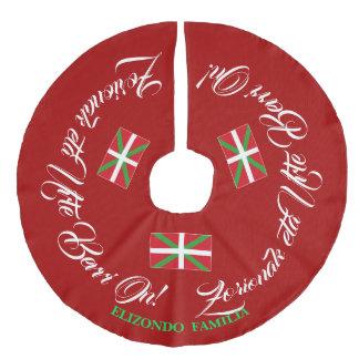 Personalize text, Christmas greeting   Ikurriña: Faux Linen Tree Skirt