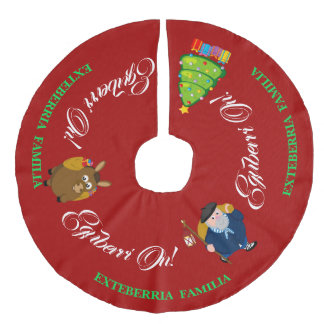 Personalize text, Christmas greeting   Olentzero: Faux Linen Tree Skirt