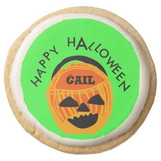 Personalize Text Halloween Pumpkin Basket Design Round Shortbread Cookie