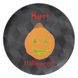 Personalize Text Halloween Pumpkin Design Plates
