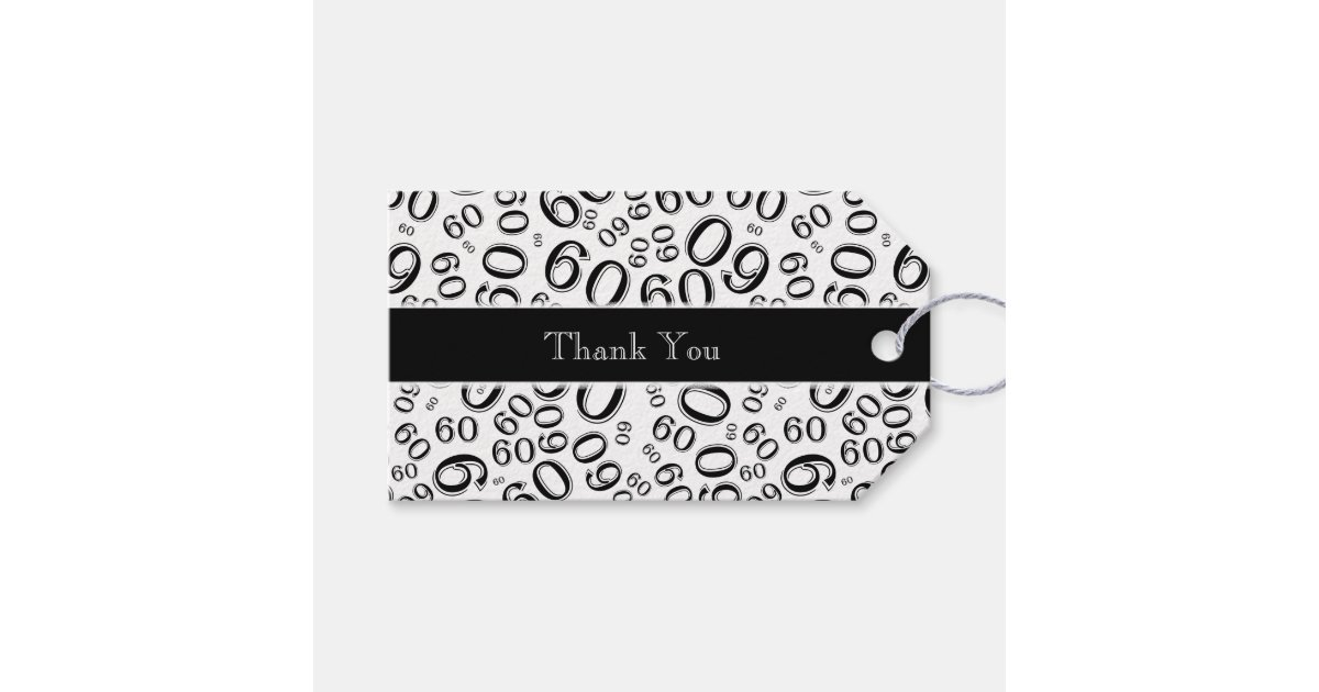 """Tagged Messages: Personalize: """"Thank You"""" 60th Birthday Gift Tag"""