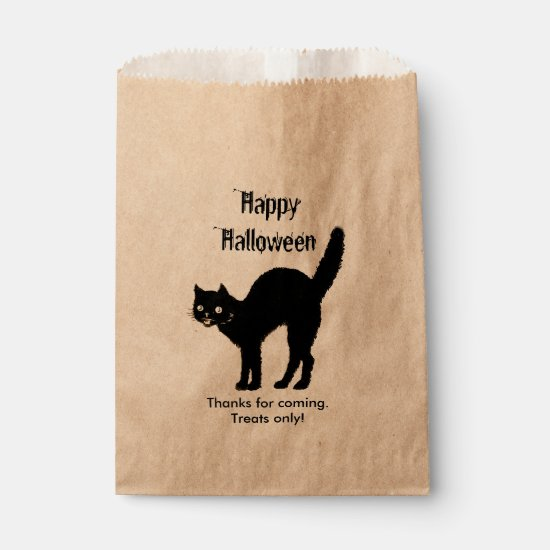 Personalize Thank You, Happy Halloween - Black Cat Favor Bag