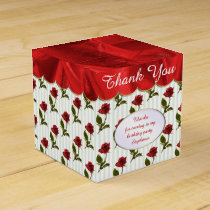 Personalize: Thank You -  Red Roses Pattern Favor Box