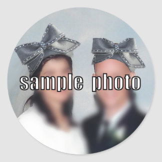Personalize the Big Bow Hat Round Sticker