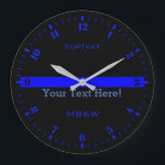 "Personalize The Thin Blue Line with 3 Text Lines Large Clock<br><div class=""desc"">A personalized monogram Thin Blue Line symbolic design on a black clock face. A great gift idea for gatherings, memorial celebrations and remembrance occasions. Three lines of text to make this watch as unique as you are. Use the &quot;Contact this Designer&quot; link to contact us with your special design requests...</div>"